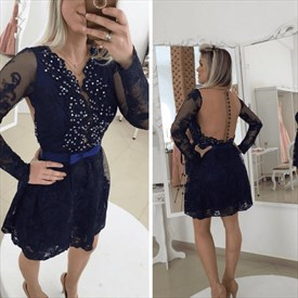 Navy Blue Beaded Lace Short Cocktail Dress With Illusion Long Sleeves