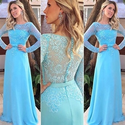 Aqua Blue Lace Long Sleeve Chiffon Skirt A Line Bridesmaid Dress