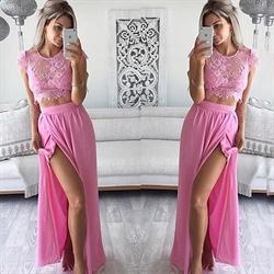 Pink Two Piece Lace Top Cap Sleeve Side Split Chiffon Prom Dress