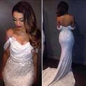 Off The Shoulder Beaded Sequin Embellished Long Prom Dress