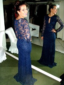 Navy Blue Illusion Long Sleeve Lace Prom Dress With Keyhole Front