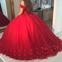 Red Off The Shoulder Lace Applique Ball Gown Wedding Dress