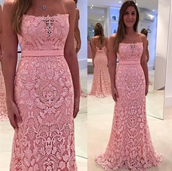 Pink Strapless Backless Lace Floor Length Bridesmaid Dress