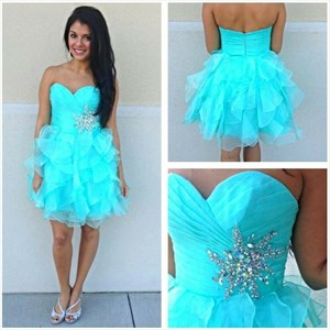 Aqua Blue Short Strapless Ruched Party Dress With Beaded Waist