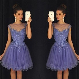 Lavender Illusion Neck Beaded Embellished Cap Sleeve Cocktail Dress