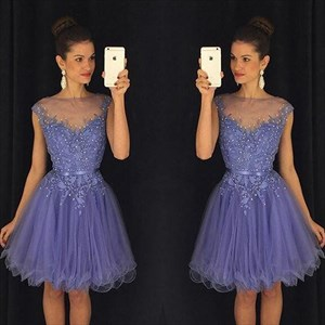 Lavender Illusion Neck Beaded Embellished Cap Sleeve Cocktail Dress