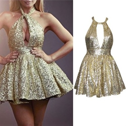 Gold Keyhole Front Halter Backless Sequin Short Homecoming Dress