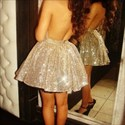 Gold Keyhole Front Halter Backless Sequin Short Homecoming Dress