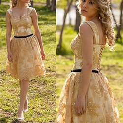 Sweetheart Lace Embellished Short Cocktail Dress With Straps