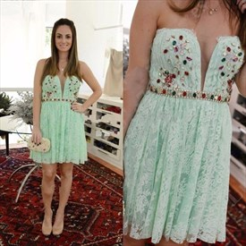 Mint Green Strapless Beaded Top Lace Short Homecoming Dress