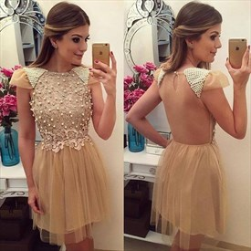 Champagne Short Beaded Top Cap Sleeve Cocktail Dress With Open Back