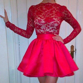 Red Lace Bodice Long Sleeve Knee Length Homecoming Dresses