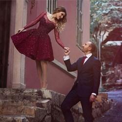 Burgundy Lace Embellished Sheer Long Sleeve Short Homecoming Dress