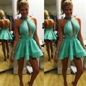Mint Green High Neck Halter Open Back Short Homecoming Dress