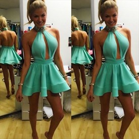 Mint Green High Neck Halter Open Back Short Homecoming Dress