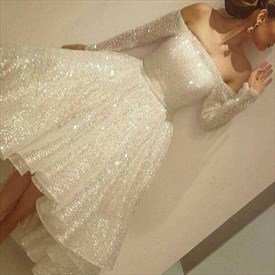 White Sequin Embellished Off The Shoulder Long Sleeve Party Dress