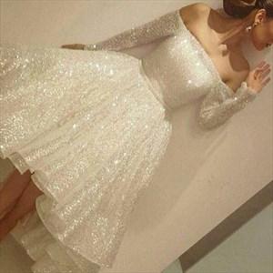 White Sequin Embellished Off The Shoulder Long Sleeve Party Dress