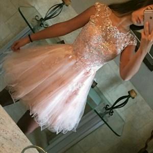 Blush Pink Short Sheer Lace Applique Cap Sleeve Homecoming Dress