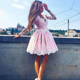Pink V Neck Long Sleeve Lace Applique Short Homecoming Dress