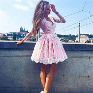 Pink V Neck Long Sleeve Lace Applique Short Homecoming Dress