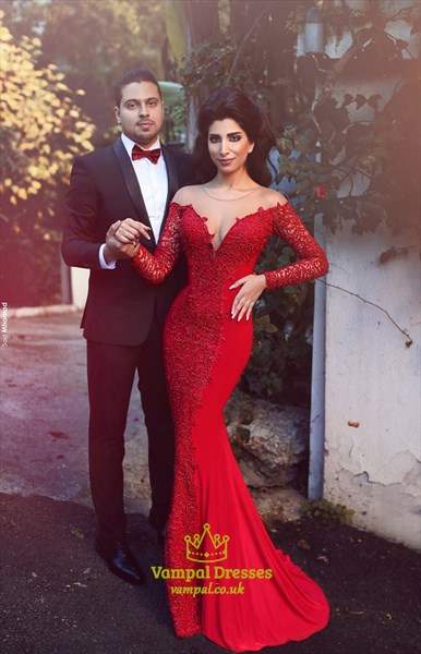 Red Lace Applqiue Long Sleeve Backless Mermaid Long Prom Dress