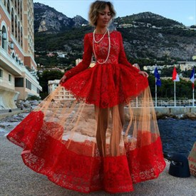 Red Long Lace Sleeve Formal Party Evening Dress With Sheer Overlay