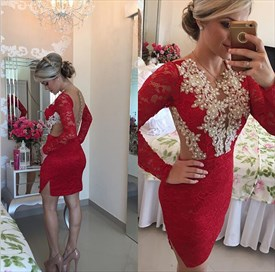 Red Beaded Backless Sheer Back Short Lace Sheath Homecoming Dress