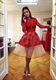 Red Illusion Long Sleeve Sheer Lace Short Prom Cocktail Dress