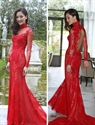Red High Neck Open Back Sheer Lace Long Sleeve Formal Dress
