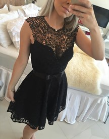 Black Lace Sheer Neck Knee Length Cocktail Homecoming Dress With Bow