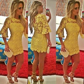 Yellow Sheer Lace Short Homecoming Dress With Half Sleeves