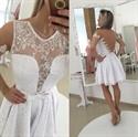 White Lace Short Sleeve Beaded Sheer Back Cocktail Dress