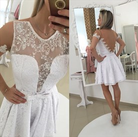 White Lace Short Sleeve Beaded Sheer Back Cocktail Dress