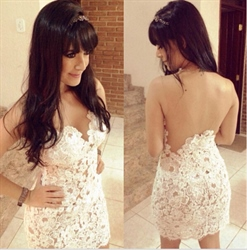 Ivory Sheer Open Back Lace Embellished Short Sheath Formal Dress