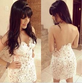 Ivory Sheer Open Back Lace Embellished Short Sheath Formal Dress