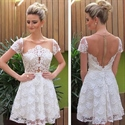 Ivory Short Sleeve Sheer Back Lace Applique Homecoming Dress