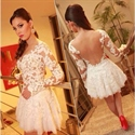 Ivory Illusion Long Sleeve Lace Applique Backless Short Prom Dress