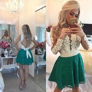 Two Tone Beaded Embellished Sheer Long Sleeve Short Cocktail Dress