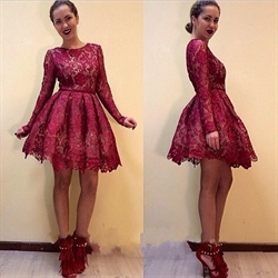 Burgundy Short Lace Skater Cocktail Dresses With Long Sleeves