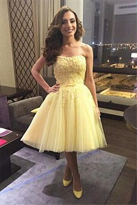 Yellow Strapless Short Lace Embellished Bridesmaid Dress