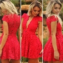 Red V Neck Lace Cap Sleeve Knee Length Homecoming Dresses