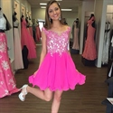 Hot Pink Sheer Lace Bodice Cap Sleeve Short Skater Cocktail Dress