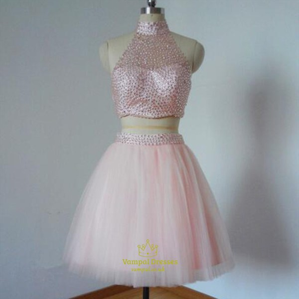 Blush Pink Halter Two Piece Beaded Backless Homecoming Dress