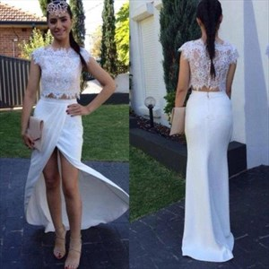 Two Piece Lace Top Chiffon Bottom Cap Sleeve Front Slit Prom Dress