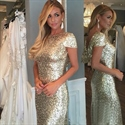 Gold Short Sleeve Cowl Back Sequin Long Bridesmaid Dress