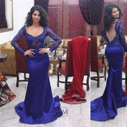 Royal Blue Long Sleeve Lace Backless V Neck Mermaid Formal Dress