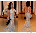 Light Blue Sheer Lace Applique Backless Long Mermaid Prom Dress