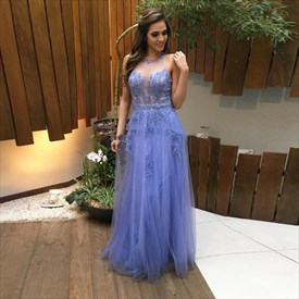 Lavender Lace Beaded Embellished Illusion Neck Backless Prom Dress