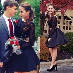 Black Lace Top Long Sleeve Backless Short Homecoming Dress