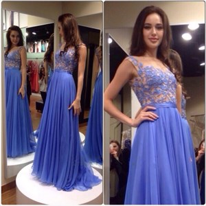 Lavender Sheer Lace Bodice Chiffon Skirt A Line Bridesmaid Dress